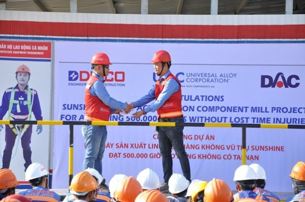 PROJECT OF SUNSHINE VACUUM COMPONENTS MANUFACTURING PLANT REACH 500,000 HOURS OF SAFETY.